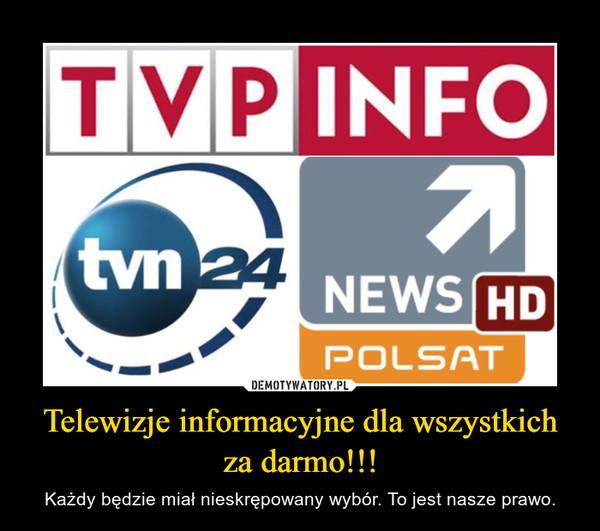 Telewizje informacyjne dla wszystkich za darmo!!! – Każdy będzie miał nieskrępowany wybór. To jest nasze prawo.