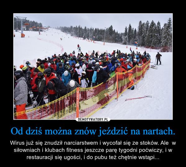 Od dziś można znów jeździć na nartach. – Wirus już się znudził narciarstwem i wycofał się ze stoków. Ale  w siłowniach i klubach fitness jeszcze parę tygodni poćwiczy, i w restauracji się ugości, i do pubu też chętnie wstąpi...