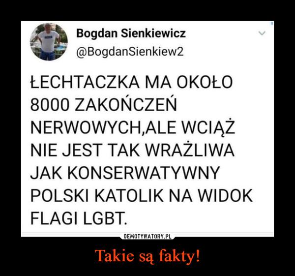 Takie są fakty! –  Bogdan Sienkiewicz@BogdanSienkiew2ŁECHTACZKA MA OKOŁO8000 ZAKOŃCZEŃNERWOWYCH.ALE WCIĄŻNIE JEST TAK WRAŻLIWAJAK KONSERWATYWNYPOLSKI KATOLIK NA WIDOKFLAGI LGBT.