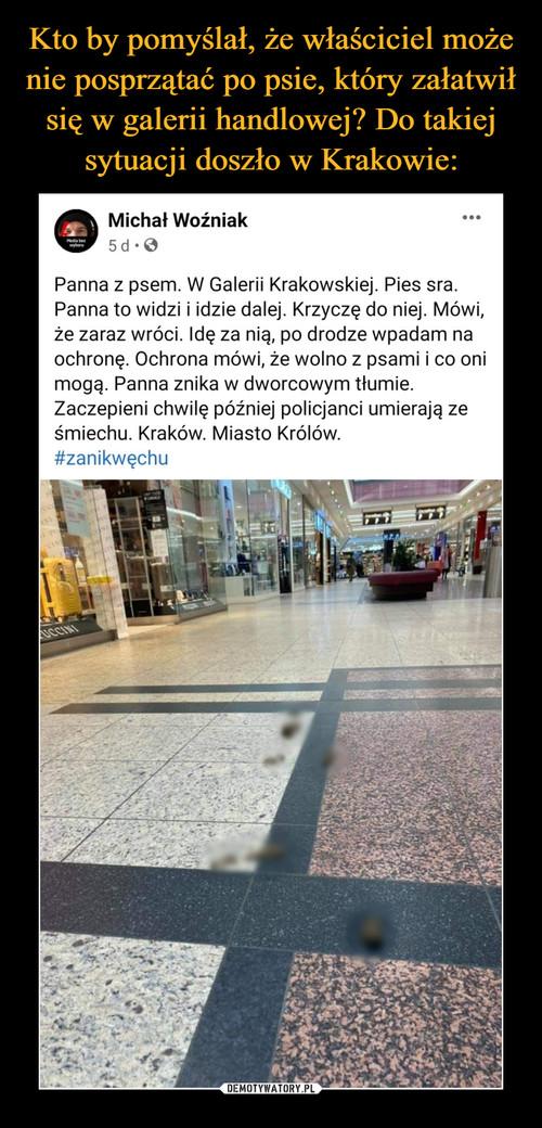 Kto by pomyślał, że właściciel może nie posprzątać po psie, który załatwił się w galerii handlowej? Do takiej sytuacji doszło w Krakowie: