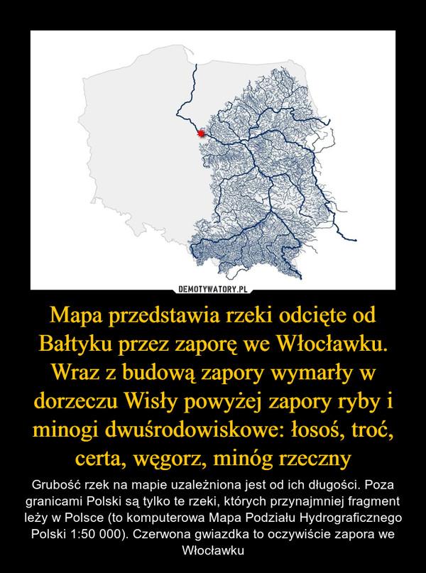 Mapa przedstawia rzeki odcięte od Bałtyku przez zaporę we Włocławku. Wraz z budową zapory wymarły w dorzeczu Wisły powyżej zapory ryby i minogi dwuśrodowiskowe: łosoś, troć, certa, węgorz, minóg rzeczny – Grubość rzek na mapie uzależniona jest od ich długości. Poza granicami Polski są tylko te rzeki, których przynajmniej fragment leży w Polsce (to komputerowa Mapa Podziału Hydrograficznego Polski 1:50 000). Czerwona gwiazdka to oczywiście zapora we Włocławku