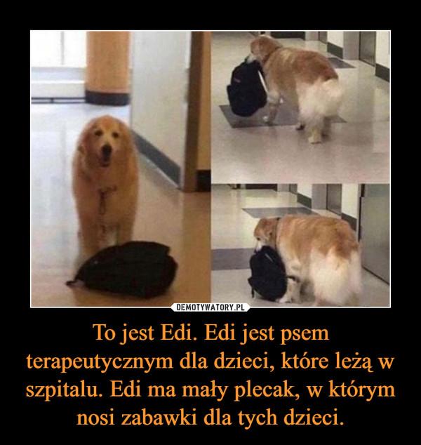 To jest Edi. Edi jest psem terapeutycznym dla dzieci, które leżą w szpitalu. Edi ma mały plecak, w którym nosi zabawki dla tych dzieci. –