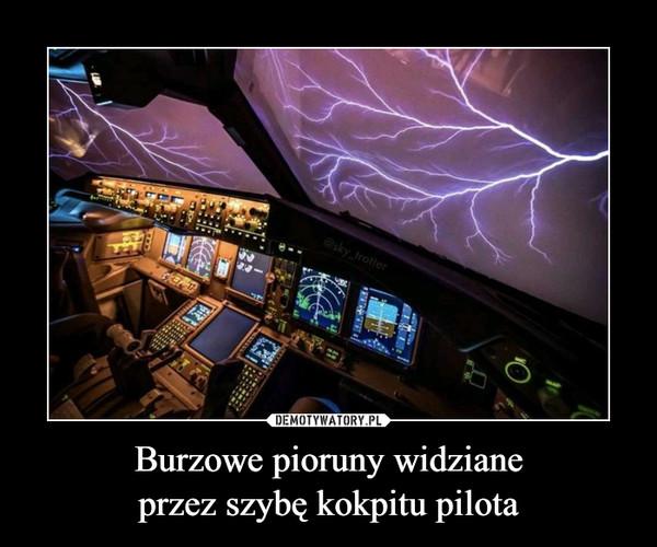 Burzowe pioruny widzianeprzez szybę kokpitu pilota –