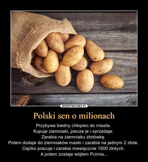 Polski sen o milionach – Przybywa biedny chłopiec do miasta. Kupuje ziemniaki, piecze je i sprzedaje. Zarabia na ziemniaku złotówkę. Potem dodaje do ziemniaków masło i zarabia na jednym 2 złote. Ciężko pracuje i zarabia miesięcznie 1500 złotych. A potem zostaje wójtem Pcimia...