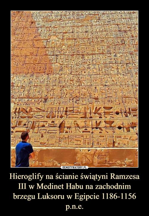Hieroglify na ścianie świątyni Ramzesa III w Medinet Habu na zachodnim brzegu Luksoru w Egipcie 1186-1156 p.n.e.