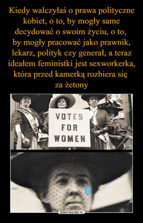 Kiedy walczyłaś o prawa polityczne kobiet, o to, by mogły same decydować o swoim życiu, o to,  by mogły pracować jako prawnik, lekarz, polityk czy generał, a teraz ideałem feministki jest sexworkerka, która przed kamerką rozbiera się  za żetony