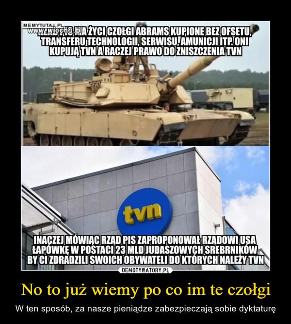No to już wiemy po co im te czołgi – W ten sposób, za nasze pieniądze zabezpieczają sobie dyktaturę