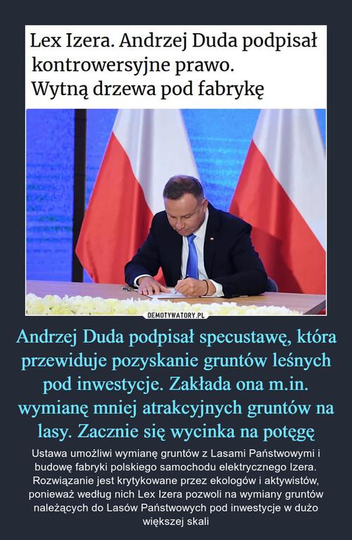 Andrzej Duda podpisał specustawę, która przewiduje pozyskanie gruntów leśnych pod inwestycje. Zakłada ona m.in. wymianę mniej atrakcyjnych gruntów na lasy. Zacznie się wycinka na potęgę