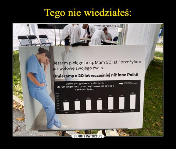 –  Iestem pielęgniarką. Mam 30 lat i przeżyłamiż połowę swojego życia.Imicramy o 20 lat wcześniej niż inne Polki!