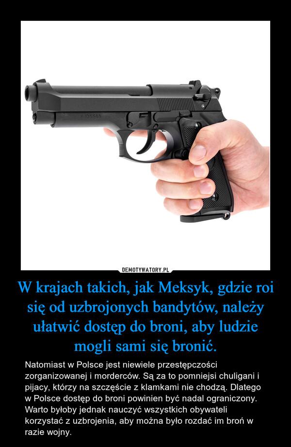 W krajach takich, jak Meksyk, gdzie roi się od uzbrojonych bandytów, należy ułatwić dostęp do broni, aby ludzie mogli sami się bronić. – Natomiast w Polsce jest niewiele przestępczości zorganizowanej i morderców. Są za to pomniejsi chuligani i pijacy, którzy na szczęście z klamkami nie chodzą. Dlatego w Polsce dostęp do broni powinien być nadal ograniczony. Warto byłoby jednak nauczyć wszystkich obywateli korzystać z uzbrojenia, aby można było rozdać im broń w razie wojny.