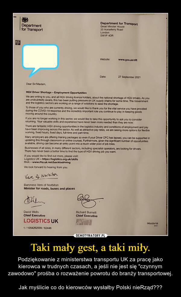 """Taki mały gest, a taki miły. – Podziękowanie z ministerstwa transportu UK za pracę jako kierowca w trudnych czasach, a jeśli nie jest się """"czynnym zawodowo"""" prośba o rozważenie powrotu do branży transportowej. Jak myślicie co do kierowców wysłałby Polski nieRząd???"""
