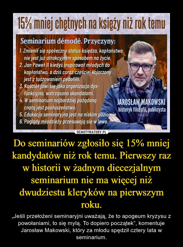 """Do seminariów zgłosiło się 15% mniej kandydatów niż rok temu. Pierwszy raz w historii w żadnym diecezjalnym seminarium nie ma więcej niż dwudziestu kleryków na pierwszym roku. – """"Jeśli przełożeni seminaryjni uważają, że to apogeum kryzysu z powołaniami, to się mylą. To dopiero początek"""", komentuje Jarosław Makowski, który za młodu spędził cztery lata w seminarium."""